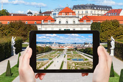 Istantanea del giardino e del palazzo più basso di belvedere Fotografia Stock