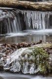 Istapp djupt i skogen med vattenfallet Arkivfoto