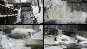 Istappar för is för bäckvattenfallkaskad övervintrar den retro bron fryste stock video