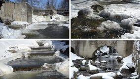 Istappar för is för flodvattenfallkaskad övervintrar den retro bron fryste lager videofilmer