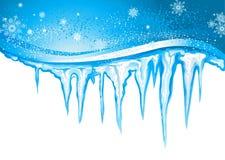 Istappar och snöflingor Royaltyfri Foto