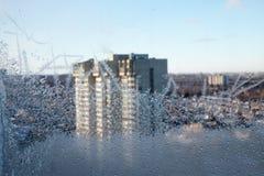 Istappar på ett fönster Fotografering för Bildbyråer