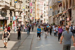 Istiklal Avenue in Istanbul, Turkey. ISTANBUL - SEPTEMBER 9: Istiklal Avenue in the Beyoglu district is one of the most famous avenues in Istanbul on September 9 stock photography