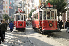 Istiklal avenue and tram in Istanbul Stock Images