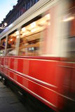 Istiklal Nostalgic Tram. The famous nostalgic red tram in Istiklal Street, Istanbul, Turkey stock photo