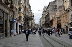 Istiklal Street, Beyoglu, Istanbul. ISTANBUL, TURKEY - MAY 11, 2018 -  People are walking on Istiklal Street, Beyoglu, Istanbul stock images