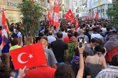 Istiklal Street. ISTANBUL - JUN 1: Violence sparked by plans to build on the Gezi Park have broadened into nationwide anti government unrest on June 1, 2013 in Stock Photography