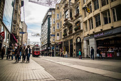 Istiklal street in Istanbul. Royalty Free Stock Image