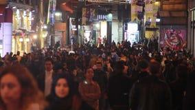 Istiklal street, night  Christmas, People crowded, Istanbul istiklal street, December 2016, Turkey stock video