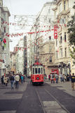Istiklal street with nostalgic tram in Istanbul Stock Images