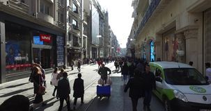 Istiklal Street pedestrian street stock footage