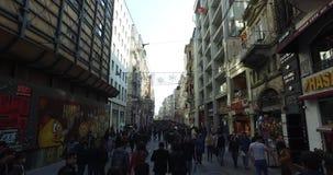Istiklal Street pedestrian street stock video