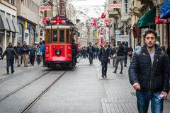 Istiklal street, red tram in Istanbul Royalty Free Stock Images