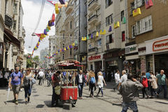 Istiklal street during 5th Istanbul Shopping Fest . Royalty Free Stock Photos