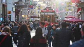Istiklal street, train, Christmas, People crowded, Istanbul istiklal street, December 2016, Turkey. Turkey, December 2016, HD 1080 stock video footage