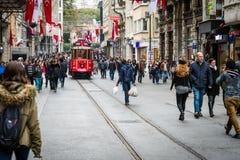 Istiklalstraat, Istanboel, Turkije Stock Foto