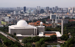 Istiqlal Mosque in Jakarta. Seen from Monas tower on a sunny day stock photography