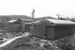Istituto universitario in costruzione, immagine in bianco e nero di Zhejiang Buddha Fotografia Stock Libera da Diritti