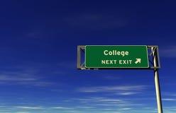 Istituto universitario - segno dell'uscita di autostrada senza pedaggio Immagini Stock Libere da Diritti