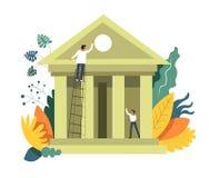 Istituzione di costruzione della gente di attività bancarie e svilupparlo vettore royalty illustrazione gratis