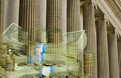 Istituzione finanziaria con valuta degli Stati Uniti Fotografia Stock