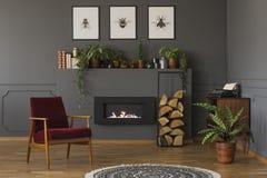 Istna fotografia czerwieni karła pozycja w retro żywym pokoju wewnątrz zdjęcia stock