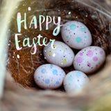 Istni mali jajka w słomie gniazdują pojęcie wielkanoc Wpisowa Szczęśliwa wielkanoc Selekcyjna ostrość Obrazy Stock