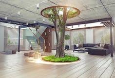 Istny żywy drzewny salowy pojęcie ilustracji