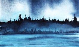 Istny akwarela krajobraz nocy szpilki drewna sylwetka ilustracji