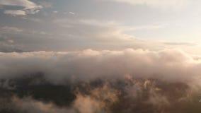Istny latanie nad wieczór timelapse chmurnieje z opóźnionym słońcem Lot przez poruszającego cloudscape z pięknym słońcem zbiory wideo