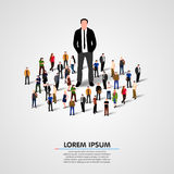 Istny lider - Biznesowy mężczyzna w tłumu ilustracja wektor