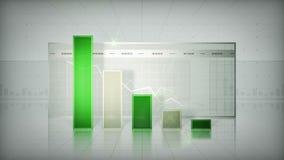 Istogramma che tende giù il verde archivi video