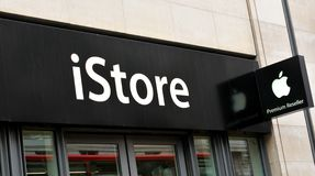 IStore. LONDON, UK - JULY 9, 2014: Close up of iStore logo in central London Stock Images