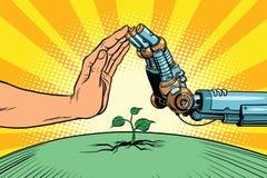 Istot ludzkich i robotów gacenia natura ilustracja wektor