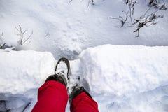 Istot ludzkich nogi w ciepłych butów stojaku w snowdrift wewnątrz na depresja moście który przechodzi nad małym strumieniem na zi fotografia royalty free