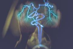 Istot ludzkich ręki na oświetleniowej piłce, Zdjęcia Royalty Free