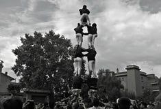 Istota ludzka kasztel w Tradycyjnym festiwalu w Catalonia obraz stock