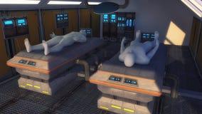 Istota ludzka klony i futurystyczna wewnętrzna architektura Zdjęcie Stock