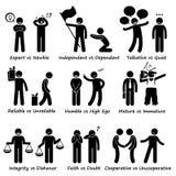 Istota ludzka Naprzeciw zachowanie pozytywu vs Negatywne charakterów znamion kija postaci piktograma ikony Zdjęcia Royalty Free