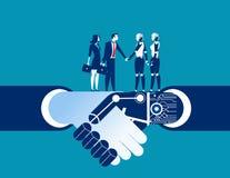 Istota ludzka vs robota potrząśnięcia ręka Pojęcie biznesowej automatyzaci illustrat Obrazy Stock
