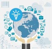 Istota ludzka wręcza mienie ziemię z Ogólnospołecznymi Medialnymi ikonami Obraz Stock
