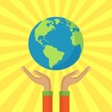 Istota ludzka wręcza trzymać spławową kulę ziemską Save nasz planeta wektor Zdjęcia Stock