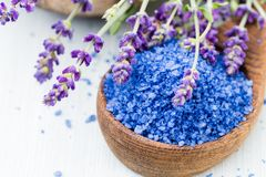 Istotna lawendy sól z kwiatu odgórnym widokiem zdjęcia stock