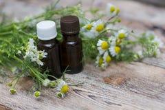 Istotnego oleju i chamomile kwiaty Fotografia Royalty Free