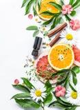 Istotny olej dla piękno skóry Mieszkania piękna nieatutowi składniki na lekkim tle, odgórny widok Piękno stylu życia zdrowy pojęc obraz stock