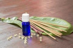 Istotny olej z kadzidłem na drewnianym stole Obrazy Royalty Free