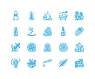 Istotnych olejów aromatherapy mieszkania linii wektorowe ikony ustawiać Elementy - aromat terapii dyfuzor, nafciany palnik, świec ilustracja wektor