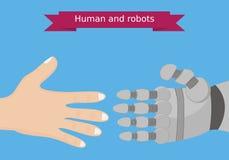Istoty ludzkiej i robota ręk płaski projekt Istoty ludzkiej i robota interakci konceptualna ilustracja Ilustracja Wektor
