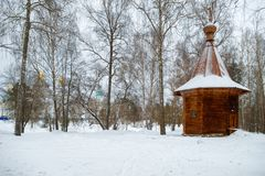 The Wooden chapel in the garden of Gethsemane. ISTRA, RUSSIA - JANUARY 3, 2017: the Wooden chapel in the garden of Gethsemane. New Jerusalem monastery, Istra Royalty Free Stock Photos
