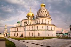 Istra, Russia - July, 2017. Famous New Jerusalem monastery at sunset stock photography